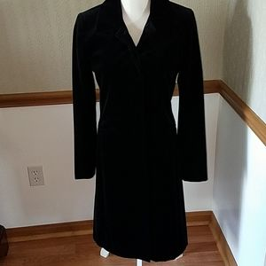 Ann Taylor velvet look black button down coat sz 4